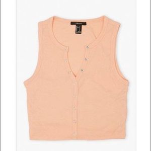 Peach Ribbed Knit Cropped Top